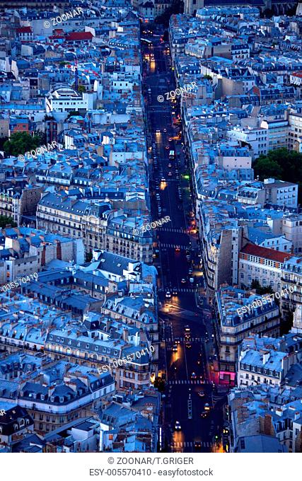 Evening on boulevard Saint Michel in Paris as seen from the top of Tour Montparnasse