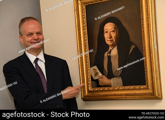 Eike Schmidt Director of Uffizi Museum during the press preview of exhibition ' L'universo naturale' (Natural Universe) by the artist Giovanna Garzoni at Uffizi...