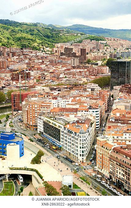 Bilbao View from Above, Bilbao, Biscay, Basque Country, Euskadi, Euskal Herria, Spain, Europe