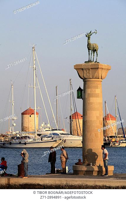 Greece, Dodecanese, Rhodes, windmills, Mandraki Harbour, people,