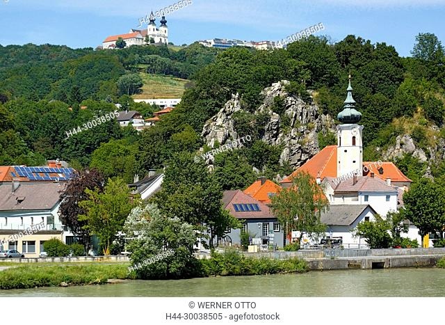 Oesterreich, Niederoesterreich, Marbach an der Donau, Maria Taferl, Donau, Waldviertel, Nibelungengau, Stadtansicht, Pfarrkirche Hl