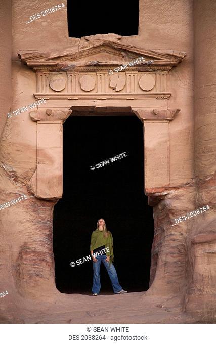 A Woman Tourist Visits The Nabatean Ruins, Petra Jordan