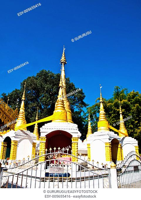 Golden pagoda in Tai Yai style in Wat Klang, Pai in Mae Hong Son, Thailand