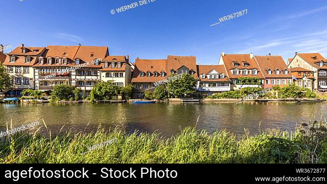 Germany, Bavaria, Bamberg, River Regnitz and Little Venice townhouses in spring