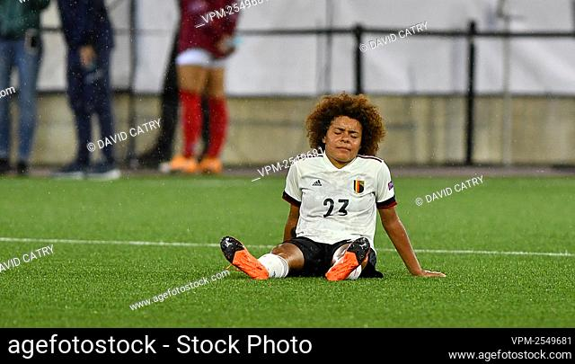 Belgium's Kassandra Ndoutou Eboa Missipo looks dejected after a soccer game between Switzerland and Belgium's Red Flames, Tuesday 22 September 2020 in Thun