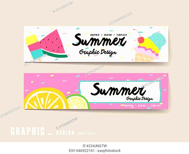 adorable banner template design set with summer elements