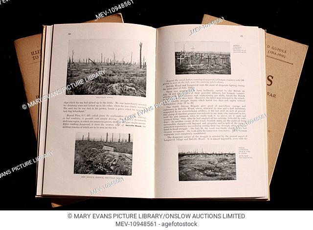 Two pages of a book, The Somme, Volume I, The First Battle of the Somme (1916-1917), published by Michelin, 1919, dedicated to the memory of Michelin workmen...