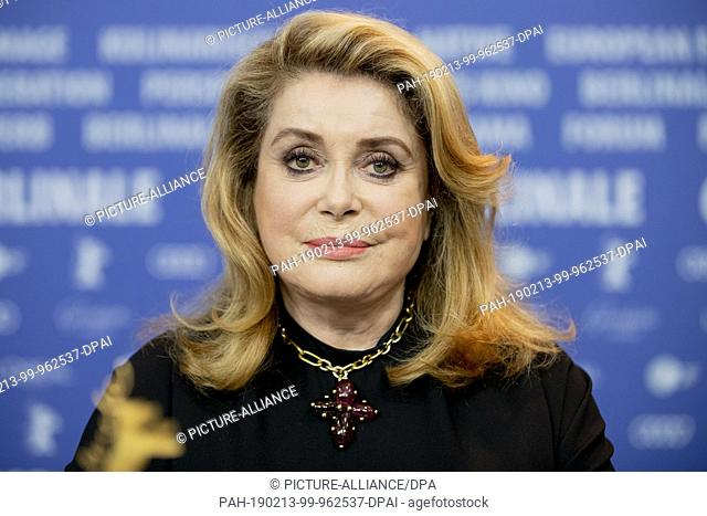 "12 February 2019, Berlin: 69th Berlinale, press conference: Catherine Deneuve, actress, attends a press conference on the film """"L'Adieu à la nuit"""""