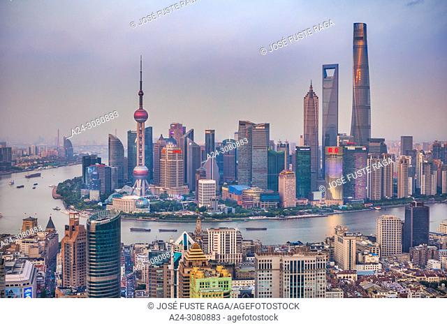 China, Shanghai City, Huangpu river,Pudong District, Lujiazui Area, Oriental Pearl Tower, Jin Mao Bldg. ,World Financial Center and Shanghai Tower