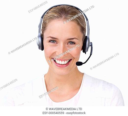 Smiling customer service agent looking at the camera against a white background