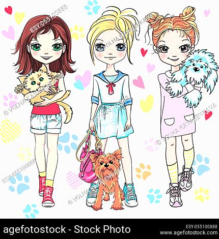 Vector cute blond and redhead girls with their pets, kitten and puppy dogs