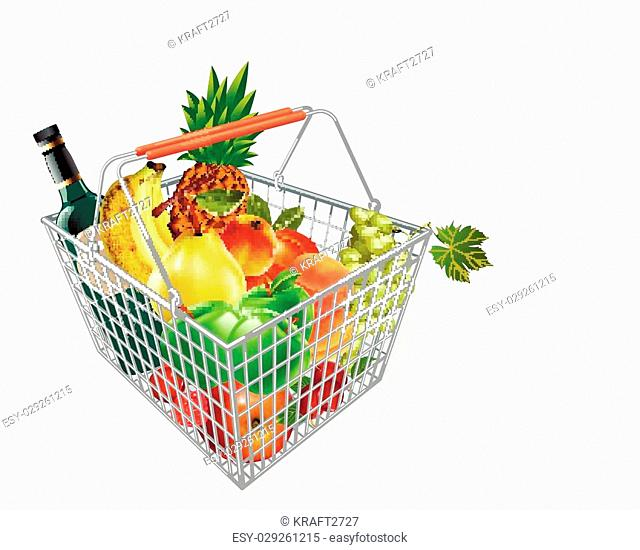 Metal fruit basket. Basket of fruit in the supermarket. Fruits in the supermarket. Buying fruit