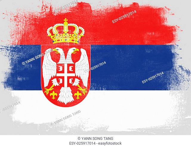 Flag of Serbia painted with brush on solid background