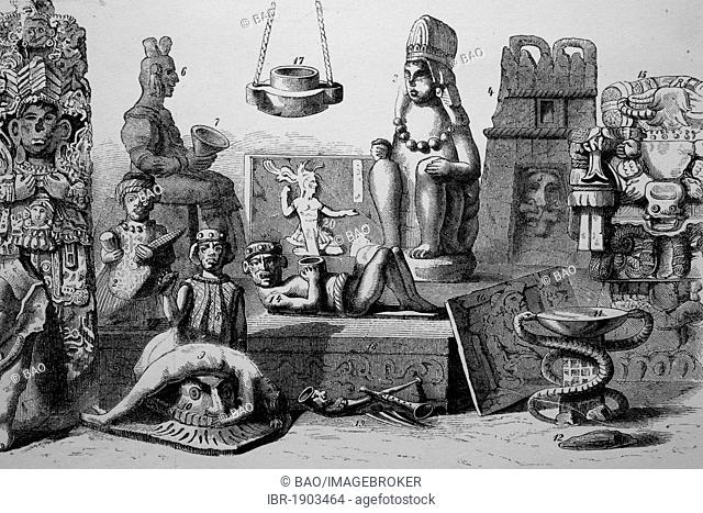 Mexican archeological discoveries, historical woodcut, circa 1880