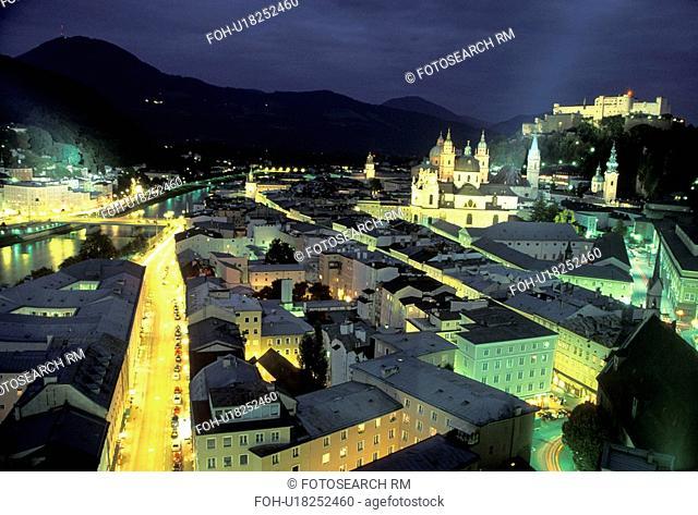 austria, salzburg, night, river, salzach, oldtown