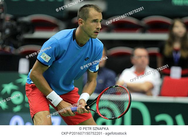 Czech Lukas Rosol plays against French Jo-Wilfried Tsonga during the first single game in the Davis Cup tennis tournament quarterfinal between the Czech...