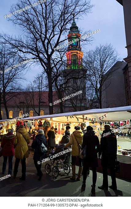View of the 22nd Environment and Christmas Market ('Umwelt- und Weihnachtsmarkt')in the Sophienstrasse street in Berlin, Germany, 2 December 2017