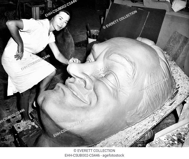 Huge clay head of comedian Bob Hope in a Hollywood artists' studio. Oct. 16, 1963. The sculpture by Hungarian Marosa Magda was commissioned for the Santa Claus...