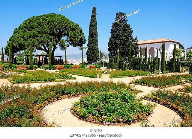 View of Teatre Grec garden, in Barcelona Spain
