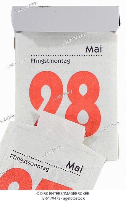 28th of Mai on a tear off calendar - Whit Monday