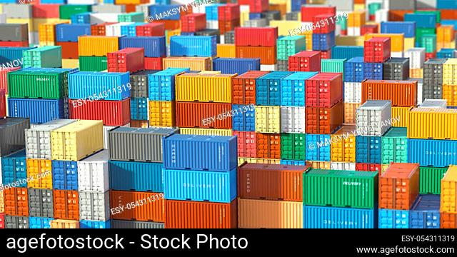 Cargo shipping containers in storage area. Delivery, Logiistics and transportation industrial concept background. 3d illustration
