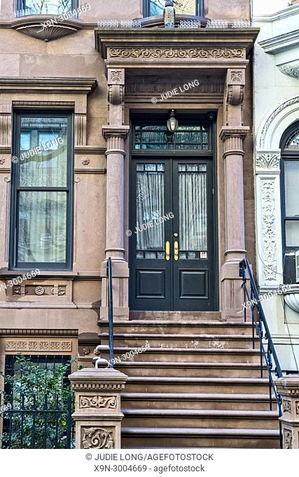 New York City, Manhattan. Upper West Side Brownstone Townhouse. Close-up of Front Entry