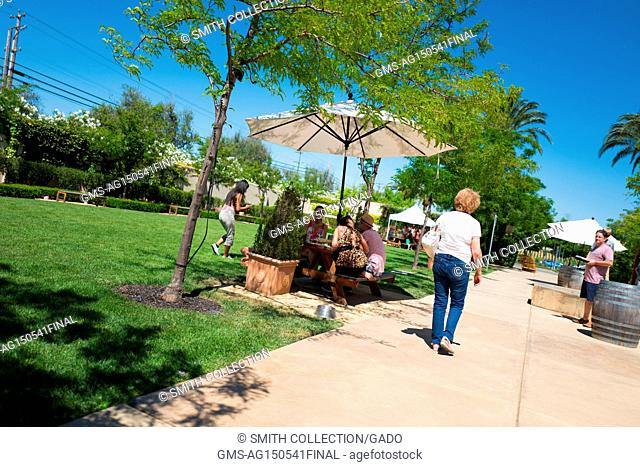 People walk and relax on the lawn on a sunny day at Wente Vineyards in Livermore Wine Country, Livermore, California, June 25, 2017