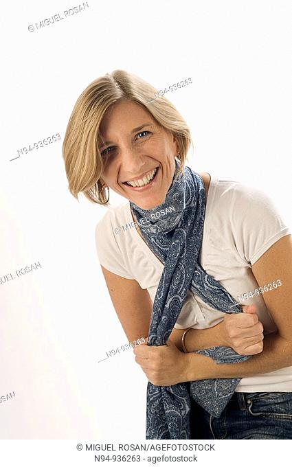 Young girl with short hair blonde laughing very happy