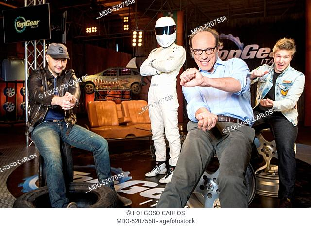 TV personality and entrepreneur Joe Bastianich, racing driver Davide Valsecchi, racing driver The Stig and commentator Guido Meda in the backstage of the TV...