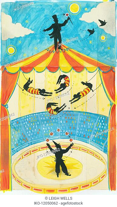 Ringmaster on top of circus performance tent