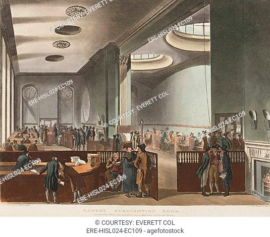 Lloyd's Subscription Room where the majority of insurance subscriptions were for British shipping much of it involved in the slave trade