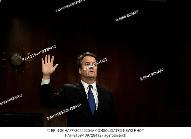 SEPTEMBER 27, 2018 - WASHINGTON, DC: Judge Brett M. Kavanaugh was sworn in to testify. The Senate Judiciary Committee holds a hearing for Dr