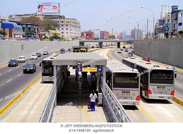 Peru, Lima, Paseo de la Republica, Ricardo Palma Estacion, station, Metropolitano Bus Line, public transport, bus, buses, express lane, commuting, commuter