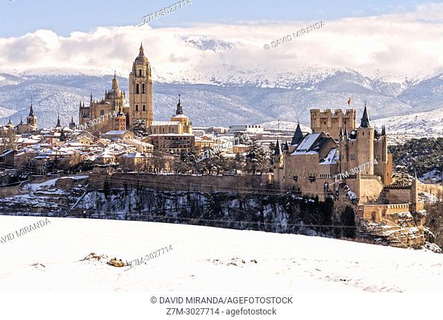 Catedral and Alcázar de Segovia, snow-covered. Castile-Leon, Spain