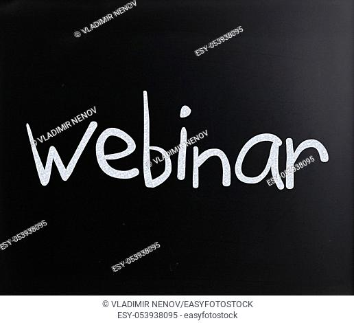 "The word """"Webinar"""" handwritten with white chalk on a blackboard"