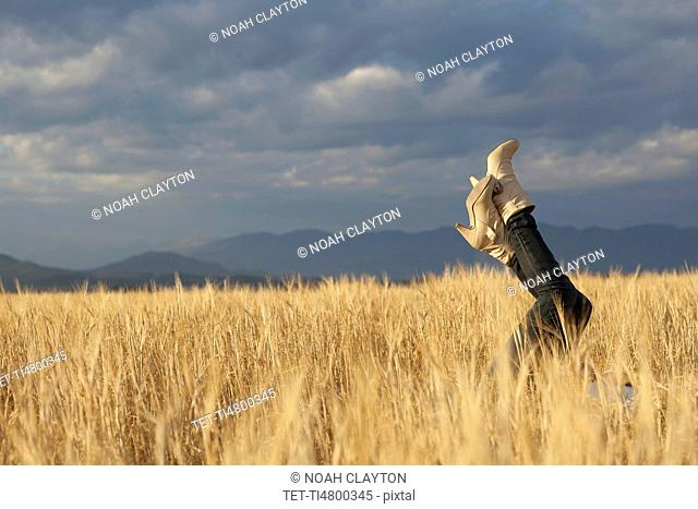 Woman lying in scenic field with feet in air