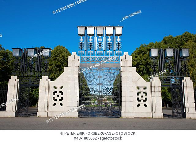 Gate to Frognerparken park Frogner district Oslo Norway Europe