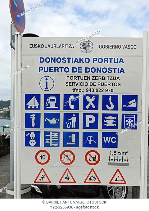 Informational Sign, Harbor, San Sebastián, Spain