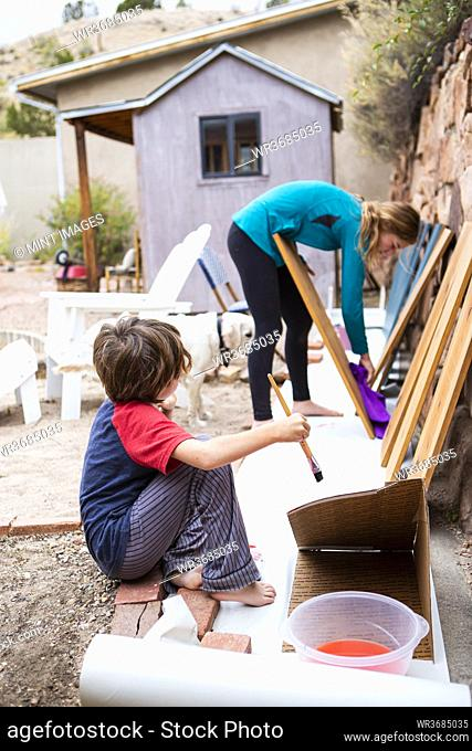 Teenage girl and a seven year old boy painting shelves with blue paint