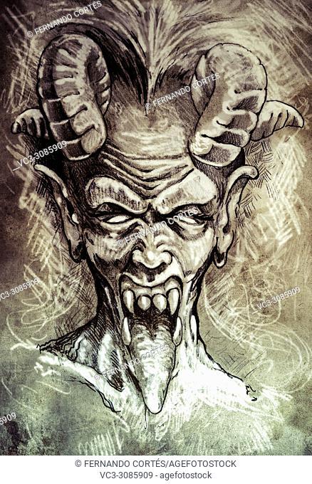 Sketch of tattoo art, devil head, gothic, vintage style