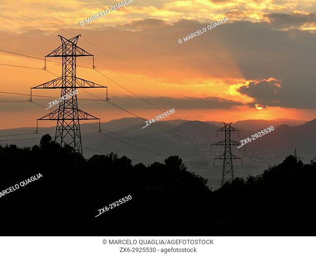 Sunset at Collserola Natural Park, Garraf Natural Park and Baix Llobregat region seen from St.Pere Martin Area, Esplugues de Llobregat city countryside