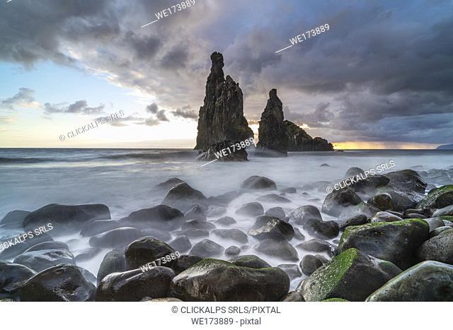 Rib and Janela islets at dawn. Porto Moniz, Madeira region, Portugal
