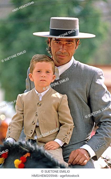 Spain, Andalusia, Jerez de la Frontera Feria, feast of horses, young boy with Andalusian cow-boy dress MR OK