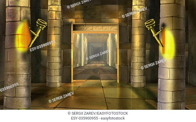 Digital painting of a Ancient Egyptian temple indoor with columns and torches
