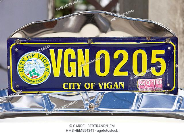 Philippines, Luzon island, Ilocos Sur, Vigan, listed as World Heritage by UNESCO, Mestizo historic district, a motorcycle taxi plate
