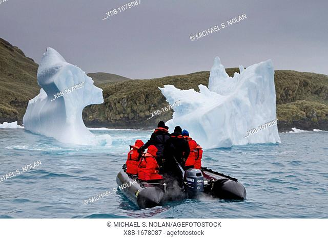 Grounded iceberg at Cape Rosa in King Haakon Bay, South Georgia Island