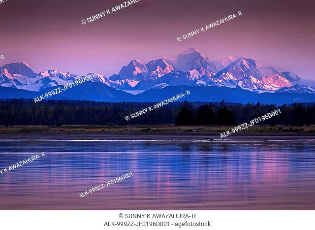 Mt. Fairweather reflecting on the waters of Icy Strait at dawn, Glacier Bay National Park & Preserve, Southeast Alaska, Summer