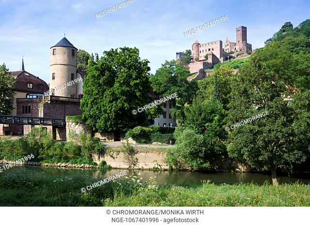 View from the Tauber River of Wertheim with the Weisser Turm, White Tower, in the background Wertheim castle, Main-Tauber district, Baden-Wuerttemberg, Germany