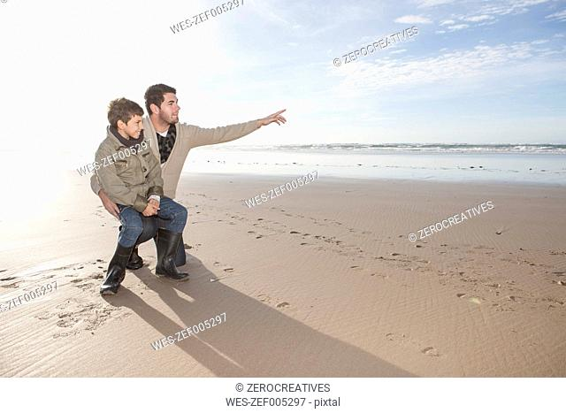 South Africa, Witsand, father and son on the beach