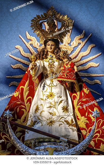 Image of the Blessed Virgin of the rock at hermitage Virge de la Peña, white village of Mijas. Malaga province Costa del Sol